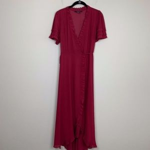 Forever 21 Contemporary Maroon Wrap Dress M
